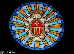 Vitral del escudo de la Merced